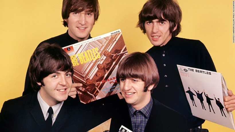 The Beatles photographed in the studio at the height of their success