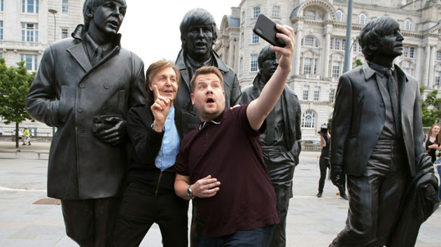 PaulMcCartney with his Liverpool statue