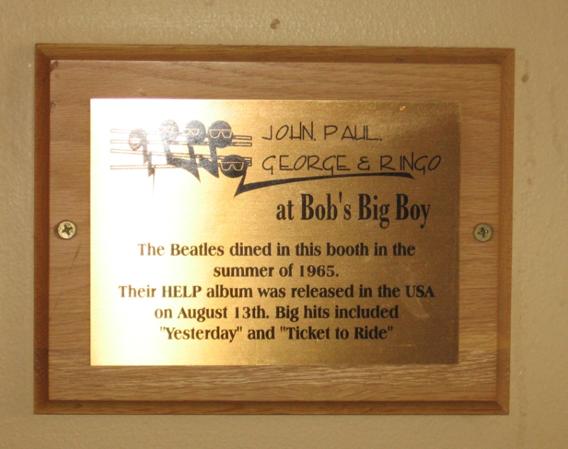 Beatles plaque at Bob's Big Boy
